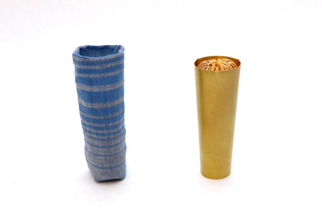 三角輪茶筅筒 真鍮製