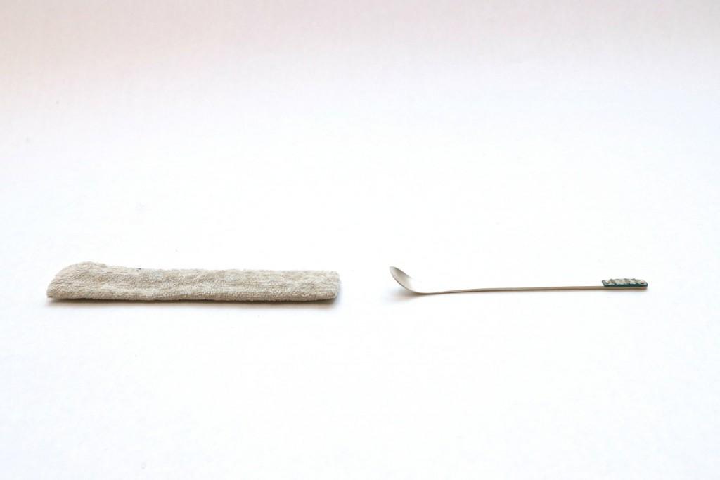 古代ガラス茶杓 銀製