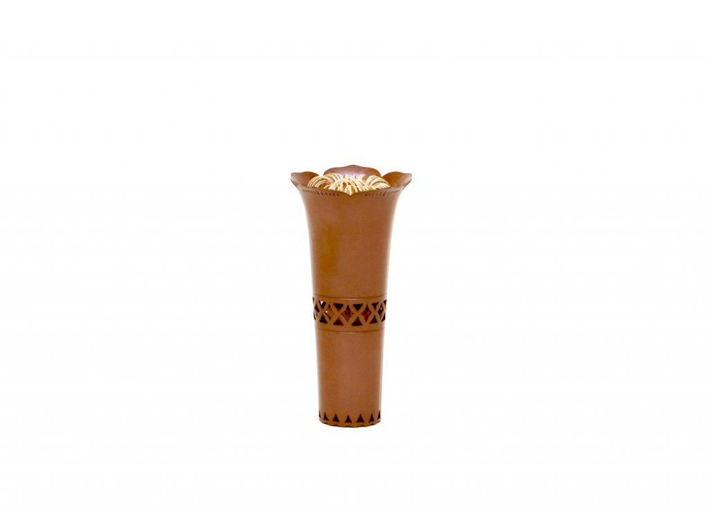 素銅透花形茶筅筒